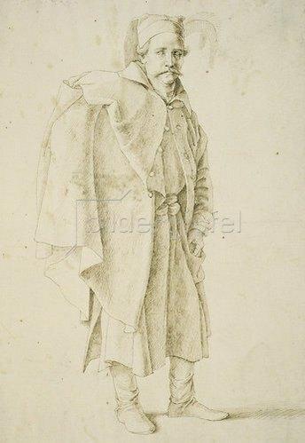 Gentile Bellini: Orientale im Mantel nach rechts stehend.