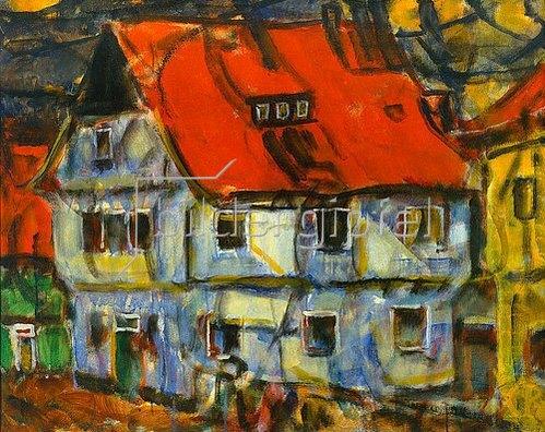 Christian Rohlfs: Blaues Haus mit rotem Dach.