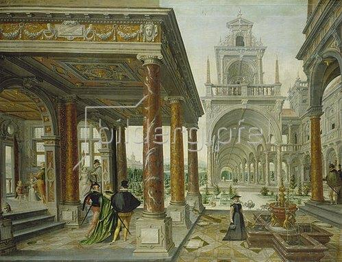 Hans Vredeman de Vries: Palastarchitektur mit Spaziergängern. 1596