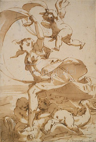 Luca Cambiaso: Venus und Amor über das Meer segelnd.