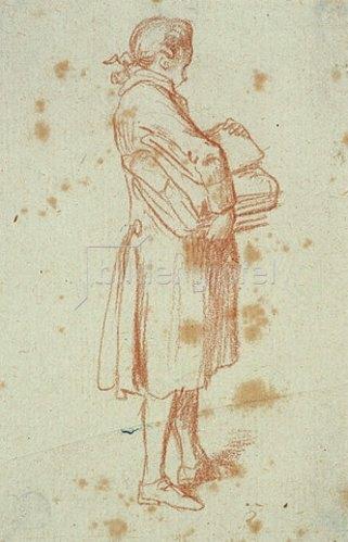 Daniel Chodowiecki: Stehender Mann mit einem Bücherpaket unter dem Arm.