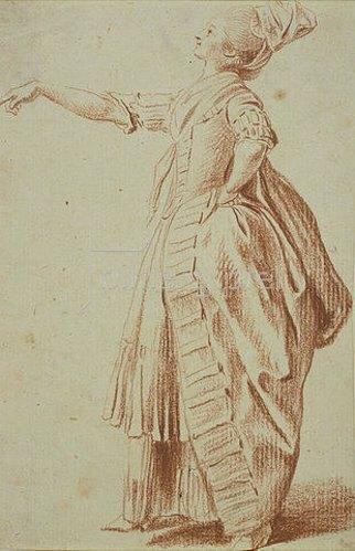 Daniel Chodowiecki: Stehende Dame mit erhobenem Haupt und ausgestrecktem rechten Arm.