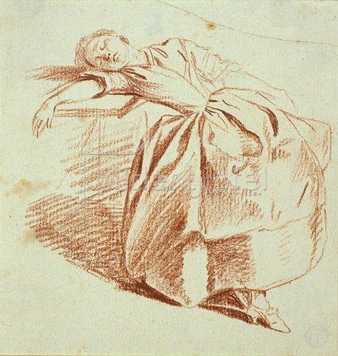 Daniel Chodowiecki: Schlafendens Mädchen, neben einem Tisch sitzend, auf den es den rechten Arm und den Kopf gelegt hat.