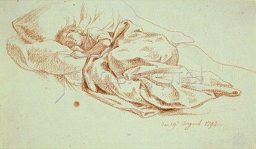 Daniel Chodowiecki: Schlafendes junges Mädchen im Bett. 1792