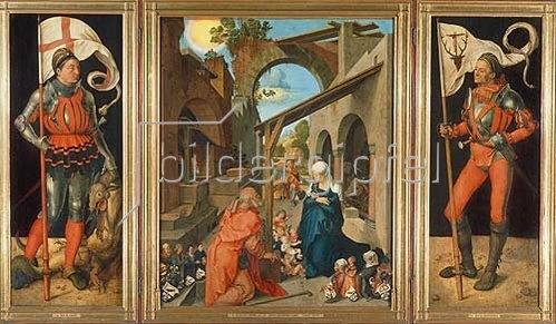Albrecht Dürer: Paumgartner-Altar. Totale. Um 1500-04. Der hl.Georg, die Geburt Christi, der hl. Eustachius