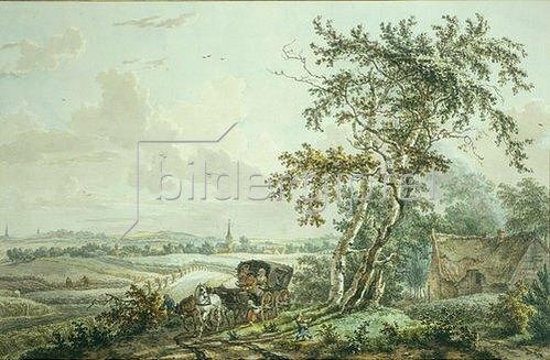 Egbert van Drielst: Landschaft mit Kutsche und bettelnden Kindern.