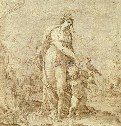 Anton Eisenhoit: Venus und Amor vor Flusslandschaft.