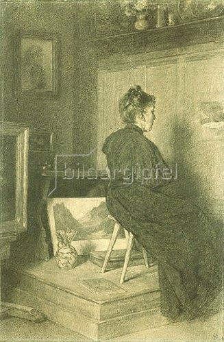 Louis Eysen: Mary Eysen im Atelier der Villa Holstein in Meran-Obermais. 1894