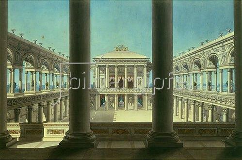 Giorgio Fuentes: Theatervorhang mit Säulengängen. Um 1800