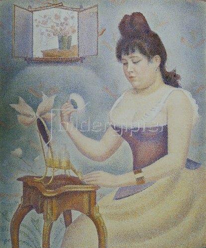 Georges Seurat: Frau mit Puderquaste vor einem Spiegel. 1889/90
