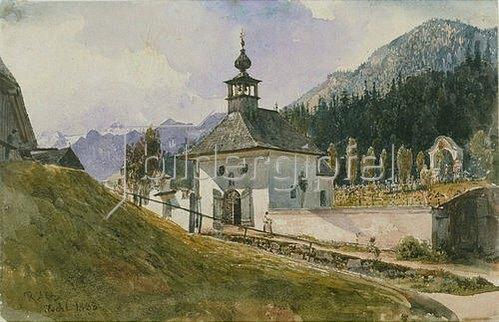 Rudolf von Alt: Friedhof in Ischl. 1838.