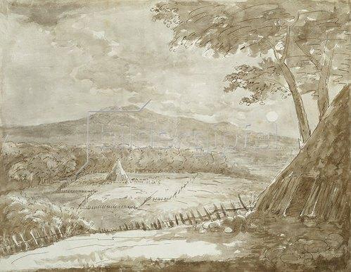 Johann Wolfgang von Goethe: Gebirgslandschaft mit Heupyramiden im Mondschein. 1787