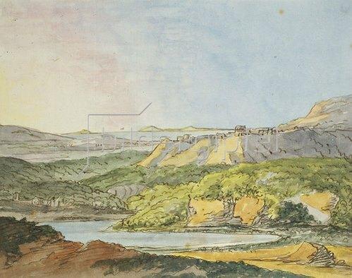 Johann Wolfgang von Goethe: Südliche Landschaft am Meer mit bewaldeten Hügeln und einem Gewässer im Vordergrund.