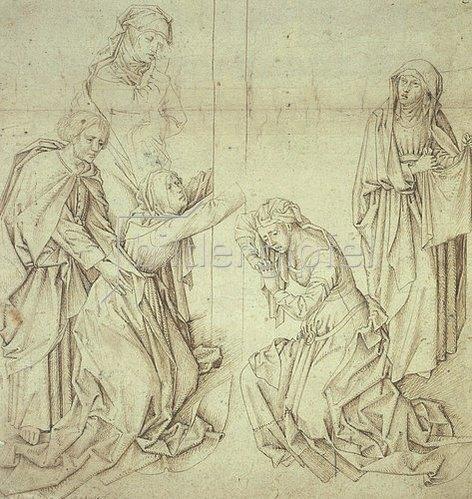 Jan (gen.Mabuse) Gossaert: Fünf weinende Frauen am Fuß des Kreuzes Christi.