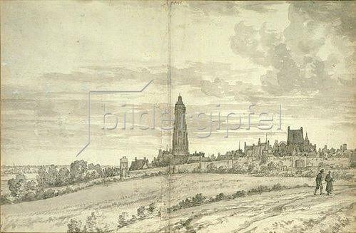 Joris van der Haagen: Stadtansicht mit Kathedrale und einer langen Stadtmauer.