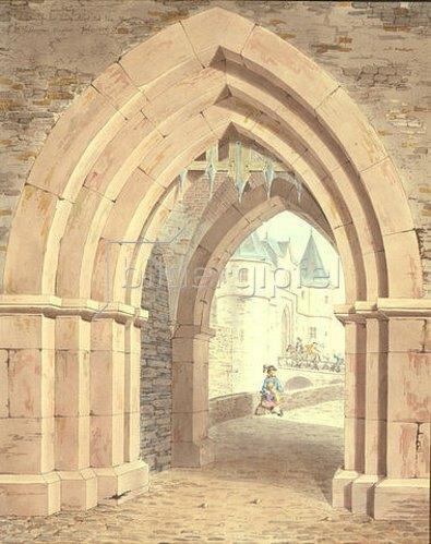 Friedrich Maximilian Hessemer: Friedberg, die Burg durch das Seer Tor gesehen.
