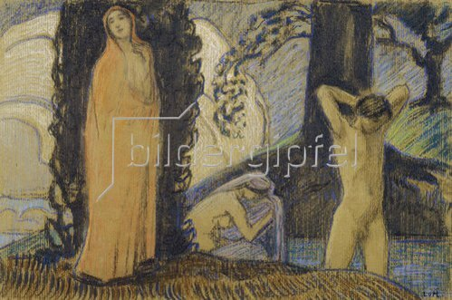 Ludwig von Hofmann: Dekorative Skizze mit zwei Frauen und einem Jüngling.