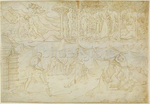 Maso (Tommaso di Antonio) Finiguerra: Fünf Szenen aus der Genesis (Moses I). Um 1460-70