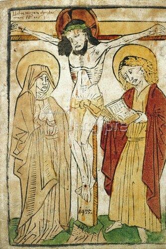 Oberdeutscher Meister: Christus am Kreuz zwischen Maria und Johannes.