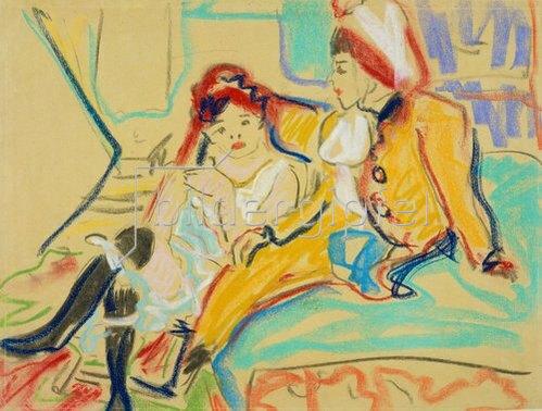 Ernst Ludwig Kirchner: Zwei Mädchen auf einem Divan. 1909
