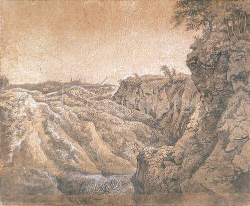 Anton Waterloo: Landschaft mit Fernblick auf Schloss Bentheim.