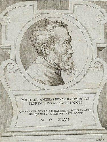 Giulio Bonasone: Bildnis Michelangelo.