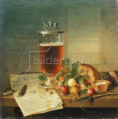 Johann Wilhelm Preyer: Bockbierstilleben. 1839