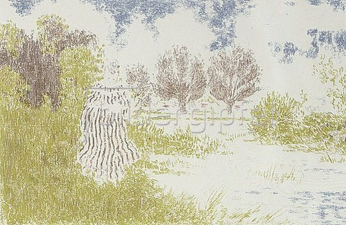 Ker Xavier Roussel: Landschaft mit Frau in gestreiftem Kleid. Um 1900