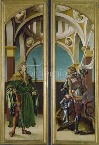 Hans Burgkmair d.Ä.: Kreuzigungsaltar. Außenseiten li.u.re: Die hll.Sigismund und Georg. Nadelholz