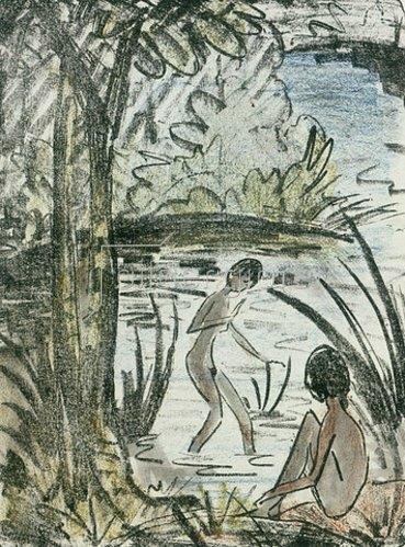 Otto Mueller: Sitzende und Badende mit Baum. 1914-18