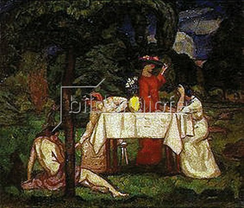 Béla Iványi-Grünwald: Nachmittagskaffee im Garten. 1910.