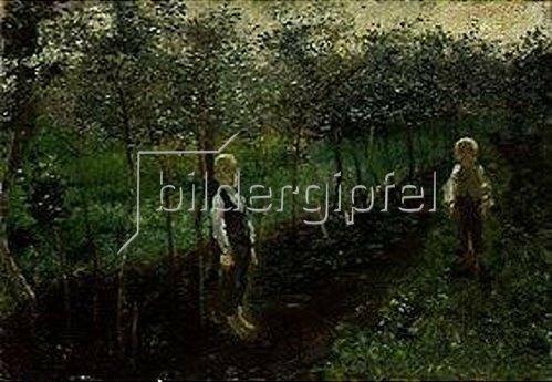 Wilhelm Dürr: Zwei Buben im Garten. 1800-1850.