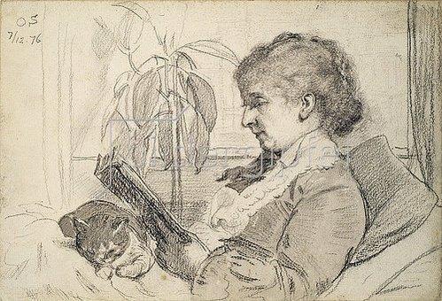 Otto Franz Scholderer: Luise Scholderer beim Lesen (Lesende mit Katze). 1876