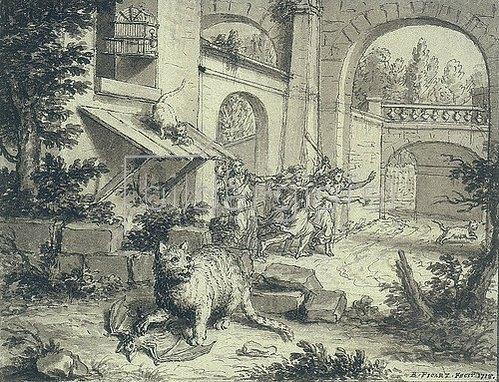 Bernard Picart: Fabelillustration: Die Katze und die Fledermaus.