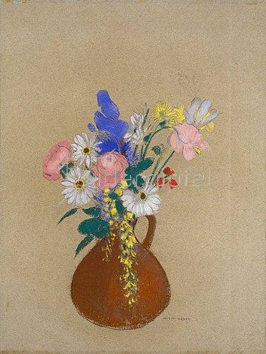 Odilon Redon: Blumenstrauss in brauner Tonvase.