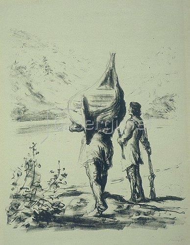 Max Slevogt: Illustration zu Lederstrumpf: Harry Hurry und Wildtöter erblicken den Flimmersee. 1908/09.