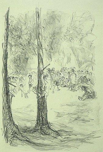 Max Slevogt: Illustration zu Lederstrumpf: Tomahawkwerfen nach dem gefesselten Wildtöter. 1908/09