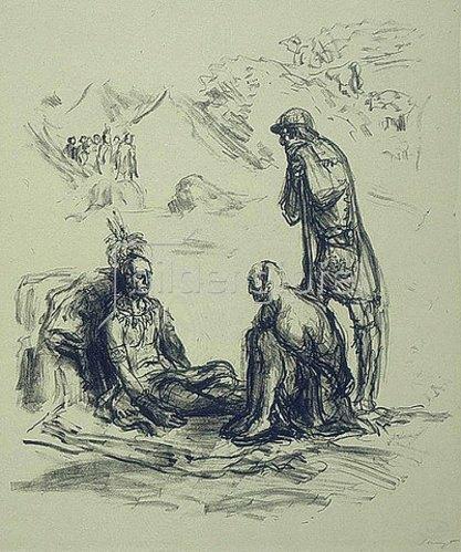 Max Slevogt: Illustration zu Lederstrumpf: Chingachgook und Falkenauge beim toten Unkas. 1908/09.