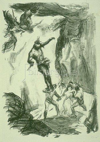 Max Slevogt: Illustration zu Lederstrumpf: Uncas springt herab, um Cora zu retten. 1908/09.