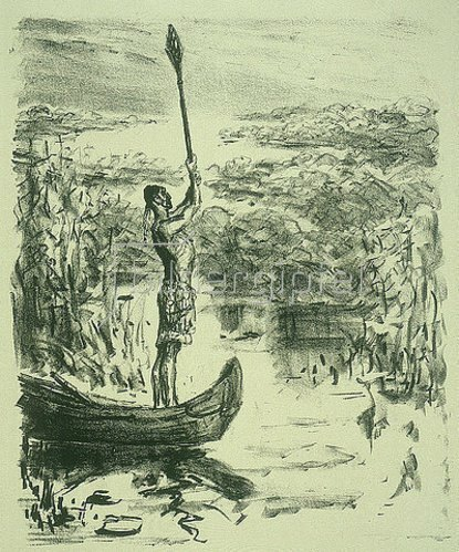 Max Slevogt: Illustration zu Lederstrumpf: Chingachgook im Kanu hebt das Ruder hoch. 1908/09