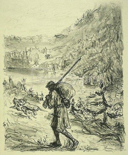 Max Slevogt: Illustration zu Lederstrumpf: Lederstrumpf auf der Wanderung mit seinen Hunden. 1908/09