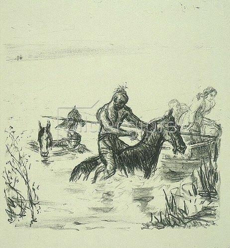 Max Slevogt: Illustration zu Lederstrumpf: Flucht durch den Fluß. 1908/09