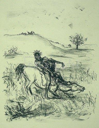 Max Slevogt: Illustration zu Lederstrumpf: Der schwebende Adler tötet den Alten auf der Flucht. 1908/09.