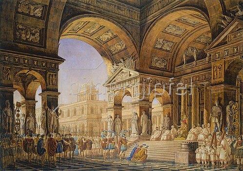 Giorgio Fuentes: Theaterdekoration. Szene aus der Oper Titus.