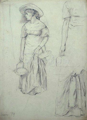 Otto Franz Scholderer: Sommerlich gekleidete stehende Frau mit Detailstudien am Arm und gerafftem Rock.