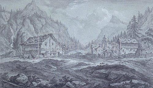 Franz Schütz: Gebirgstal mit Tannenwaldung und Bauernhäusern.