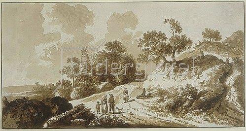 Johann Friedrich Alexander Thiele: Weg bei einer Anhöhe, links davon eine Hütte unter Bäumen, im Vordergrund fünf Figuren.