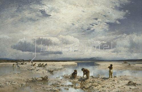 Joseph Wenglein: Kalksteinsammlerinnen im Isarbett bei Bad Tölz. 1883.
