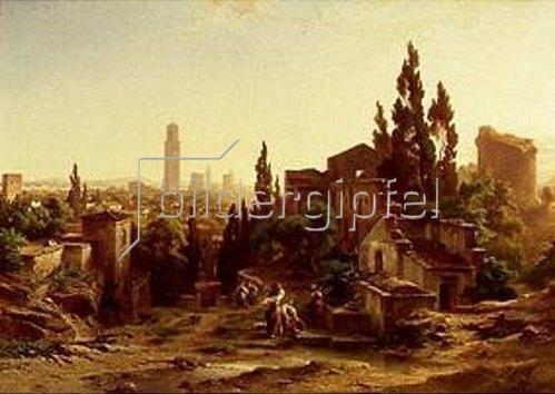 Albert Emil Kirchner: Verona, vom Giardino Giusti gesehen. 1862.