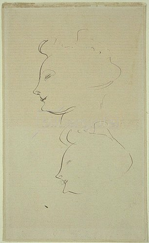 Henri de Toulouse-Lautrec: Frauenköpfe (Profil nach links).